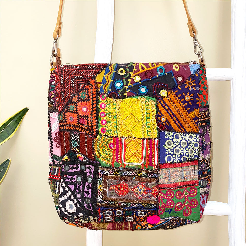 Embroidered Banjara Messenger Bag with Tribal Medallion