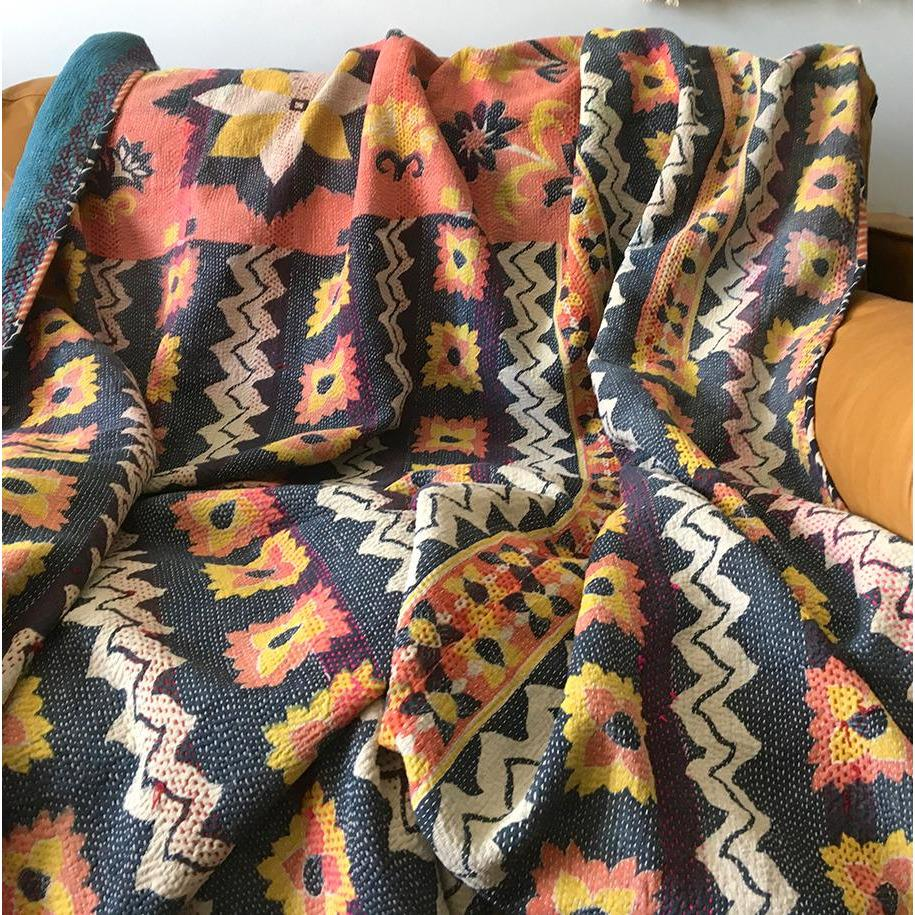 Hand-Stitched Heavyweight  Kantha Throw - The Fox and The Mermaid