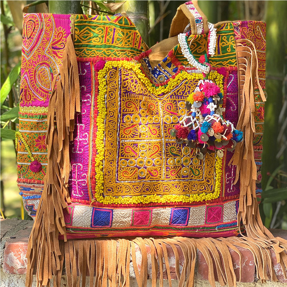 Embroidered Indian bag with vintage tribal adornments - The Fox and the Mermaid