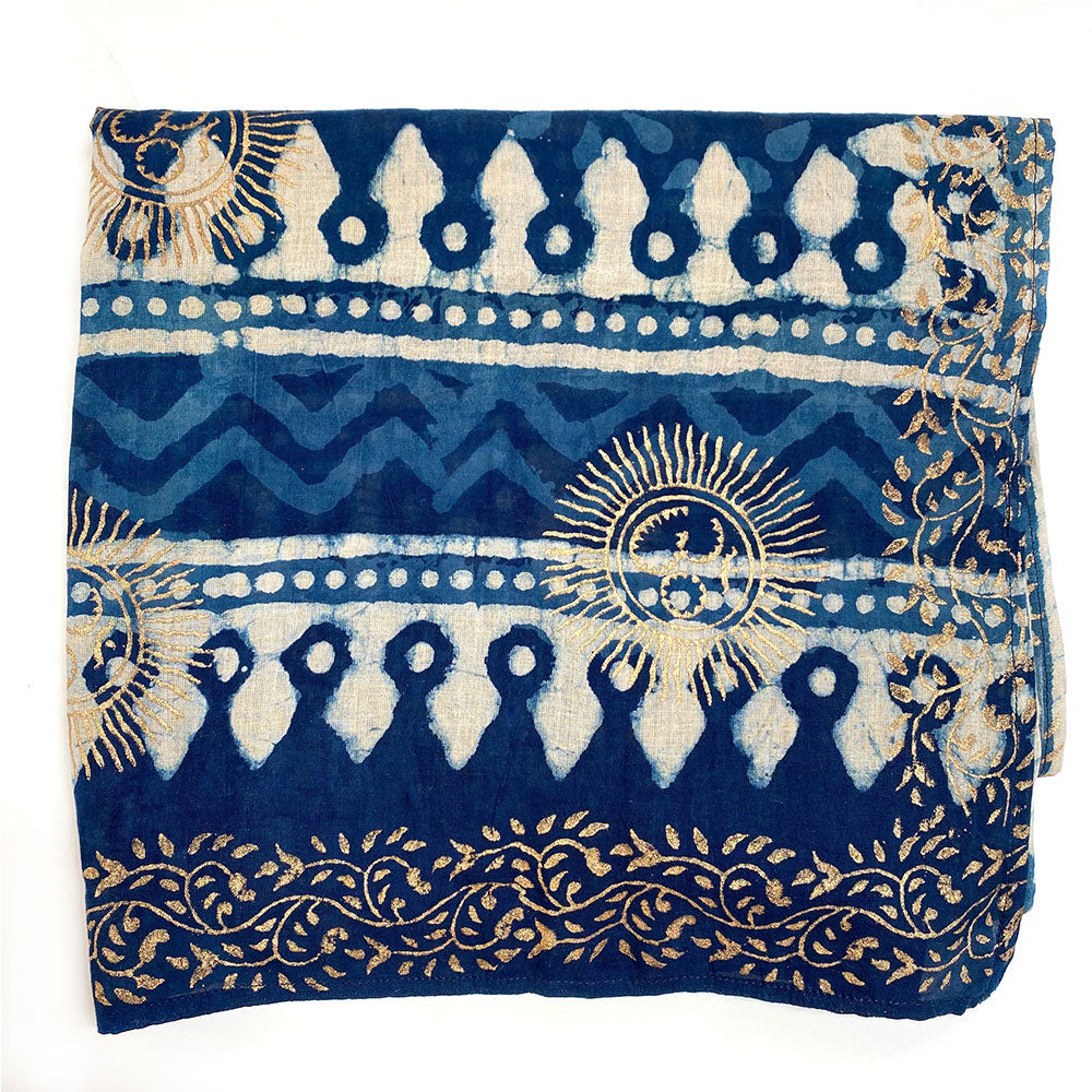 Indian Indigo Dyed Scarf with Gold Block Printing  - The Fox and the Mermaid