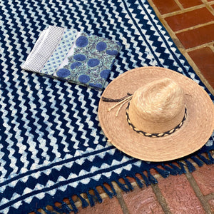 boho indigo throw blanket rug - The Fox and the Mermaid