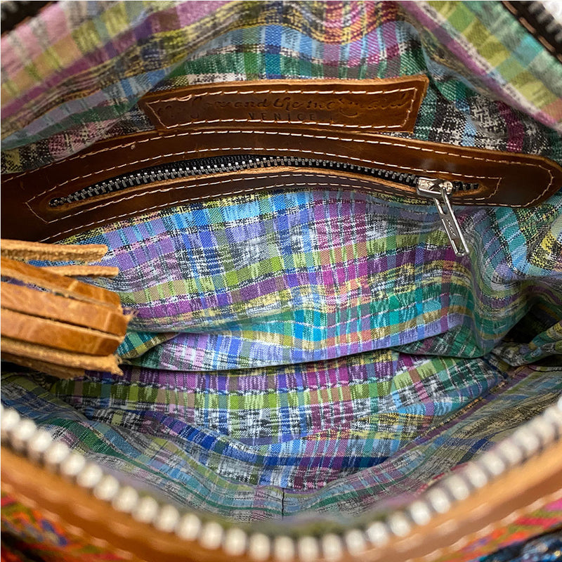 Interior handwoven lining of convertible backpack - The Fox and the Mermaid
