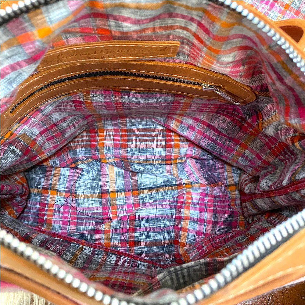 ikat lining inside pink serape bag - The Fox and the Mermaid
