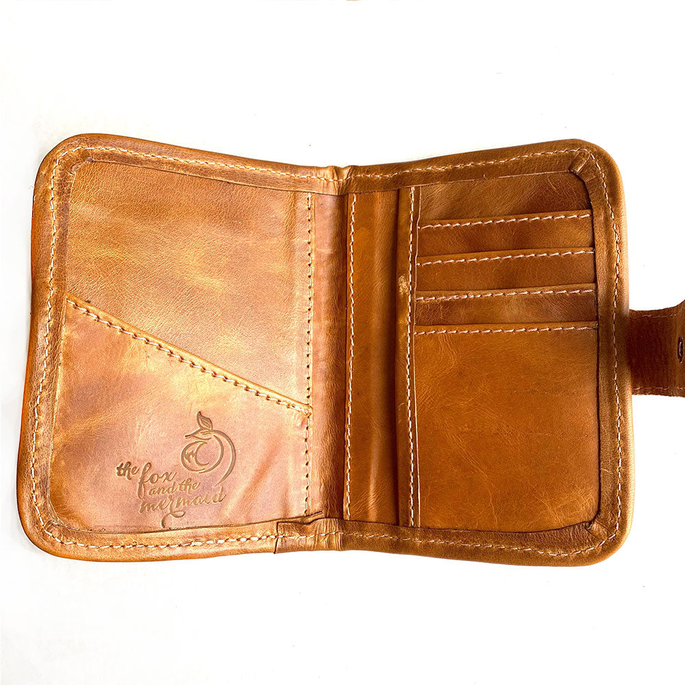 Inside of Leather Embroidered Passport Holder - The Fox and the Mermaid