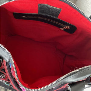 red interior lining backpack bag from Guatemala _ The Fox and the Mermaid