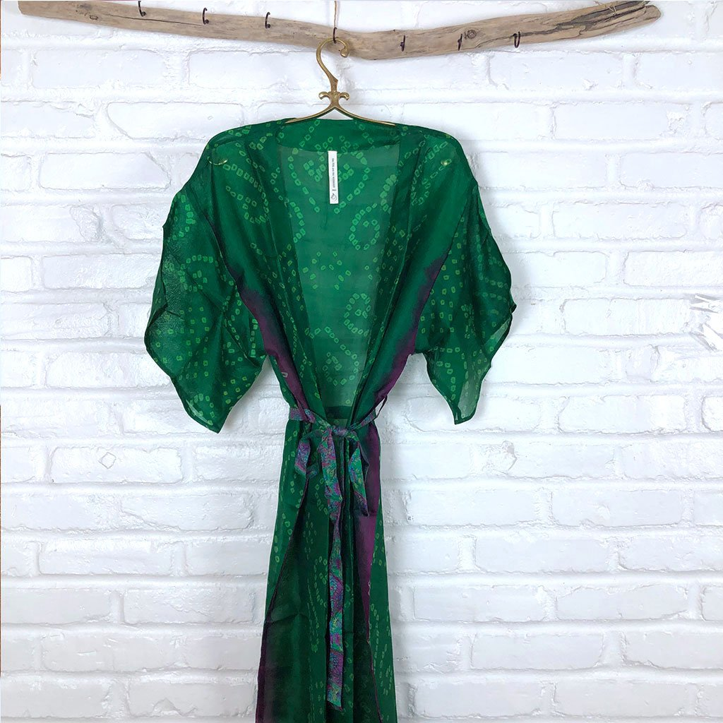 Green and Purple Vintage silk Robe The Fox and the Mermaid