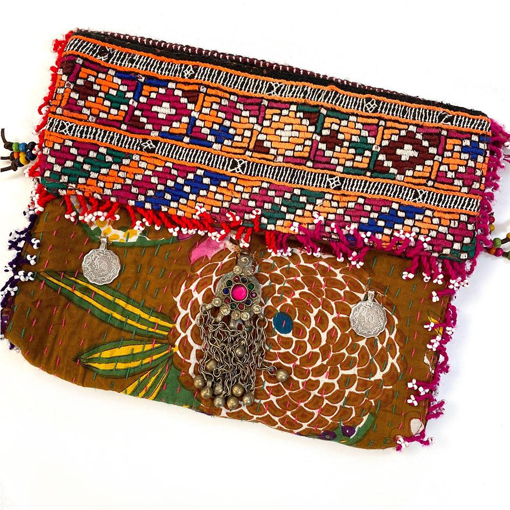 Embroidered Kantha Banjara Clutch with coins - The Fox and The Mermaid