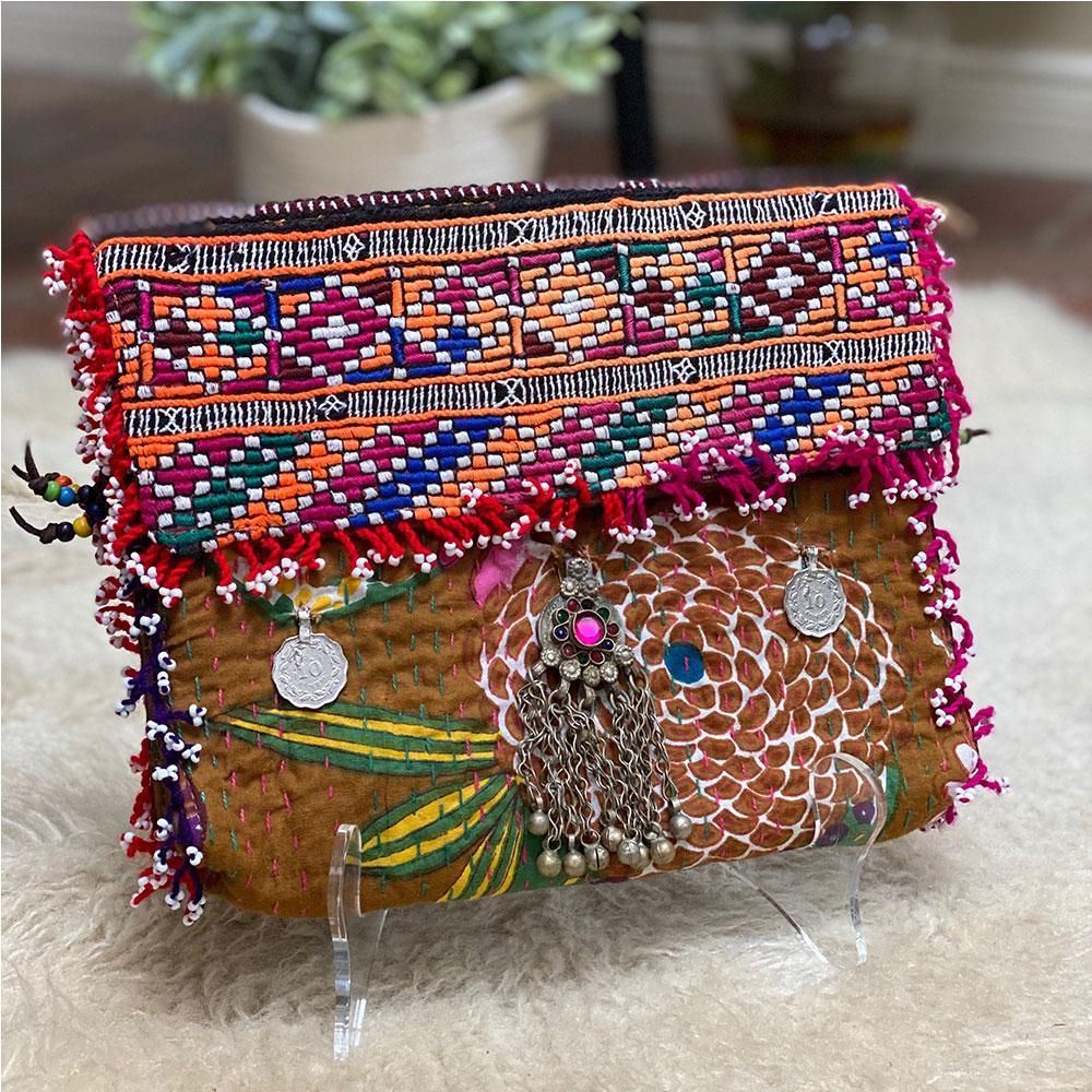 Embroidered Kantha Banjara Clutch (Various Colors)