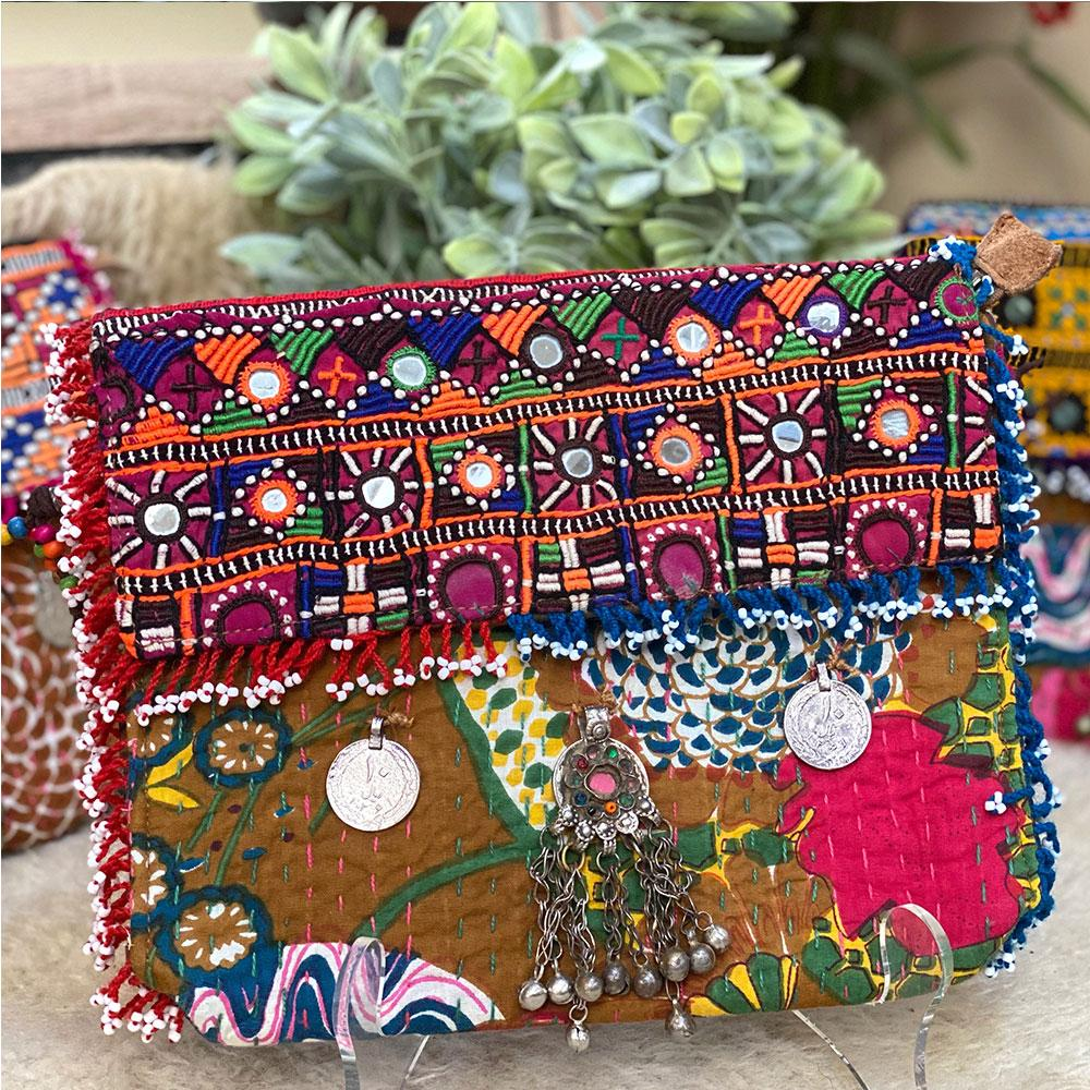 Embroidered Kantha Banjara Clutch - The Fox and The Mermaid