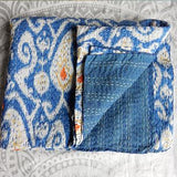 Sky Blue Ikat Kantha Quilt - The Fox and The Mermaid - 1