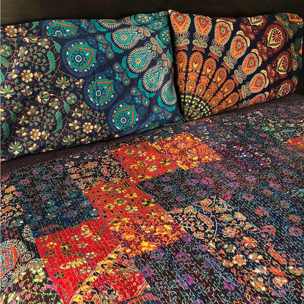 Kantha Quilt Made From Mandala Fabrics The Fox and the Mermaid