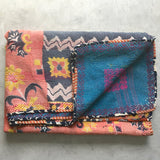 Hand-stitched-kantha-Quilt The Fox and the Mermaid