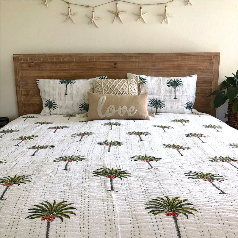 palm tree kantha quilt The Fox and the Mermaid