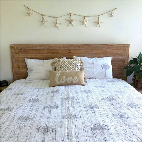 Palm Tree Kantha Quilt in Dusty Grey
