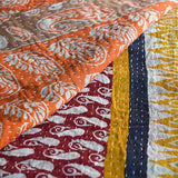 Hand-Stitched Kantha Throw - The Fox and The Mermaid - 3
