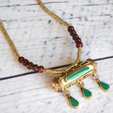 Green Tribal Dangling Necklace The fox and the Mermaid