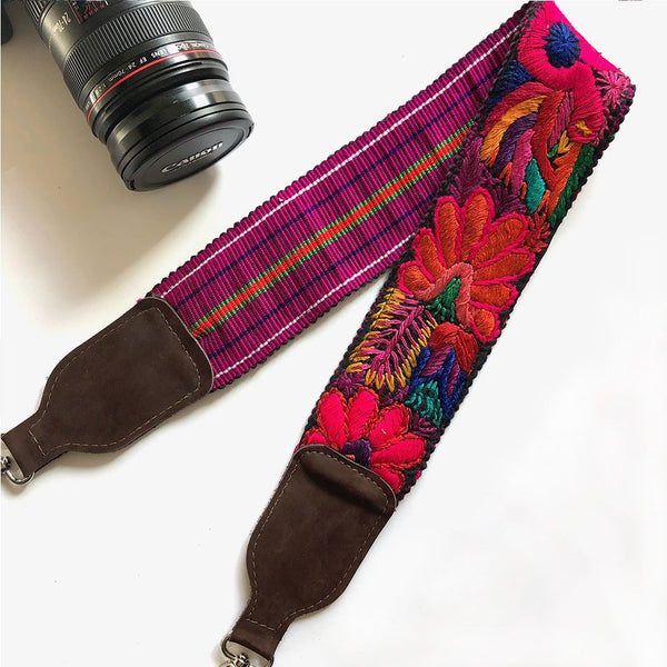 embroidered guatemalan camera strap The Fox and the Mermaid