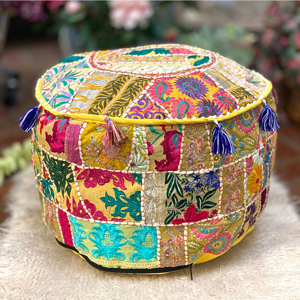 Vintage Embroidered Patchwork Pouf Cover