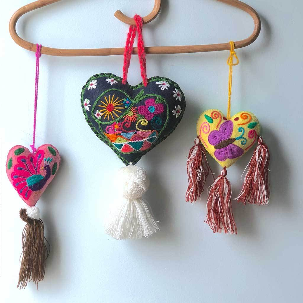 Large Mexican Embroidered Felt handmade tassels The Fox and the Mermaid