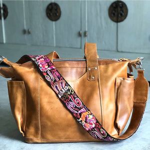 Leather Mayan Bag with Embroidered Strap - The Fox and The Mermaid