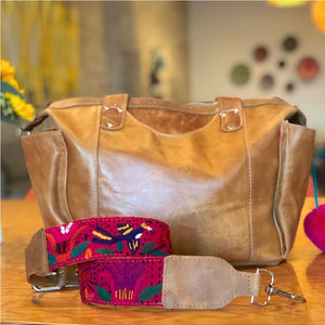 guatemalan leather diaper bag
