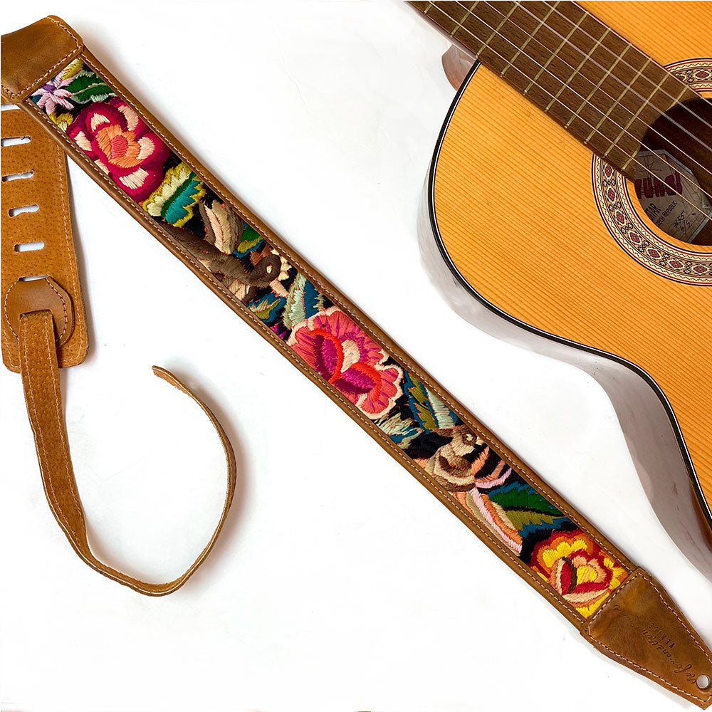 Embroidered Guatemalan Guitar Strap - The Fox and the Mermaid