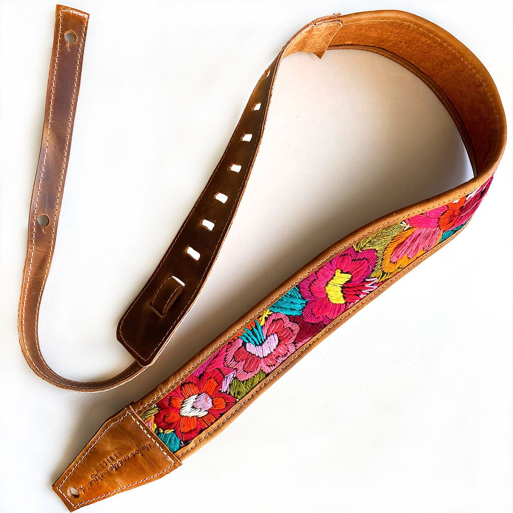 leather guitar strap with embroidered flowers - The Fox and the Mermaid