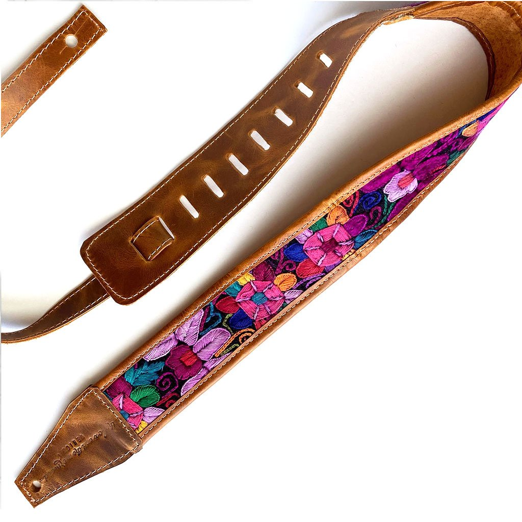 Purple Floral Embroidered Guitar Strap ) The Fox and the Mermaid