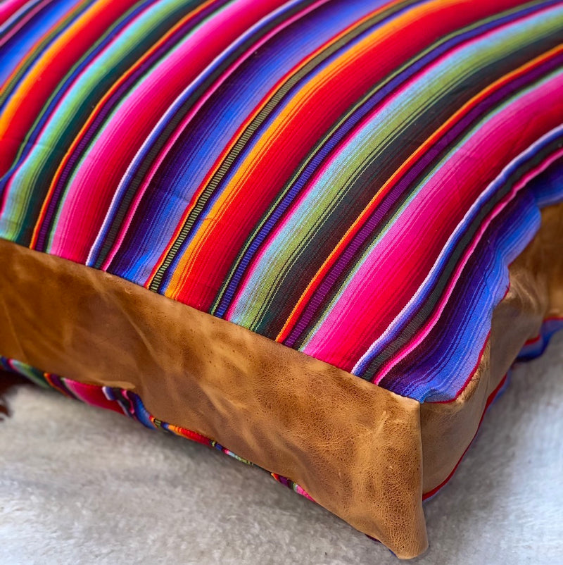 serape dog bed with leather panel - The Fox and the Mermaid