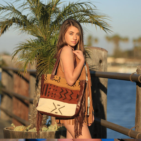 Moroccan Leather and Mud Cloth Bag - The Fox and The Mermaid - 1