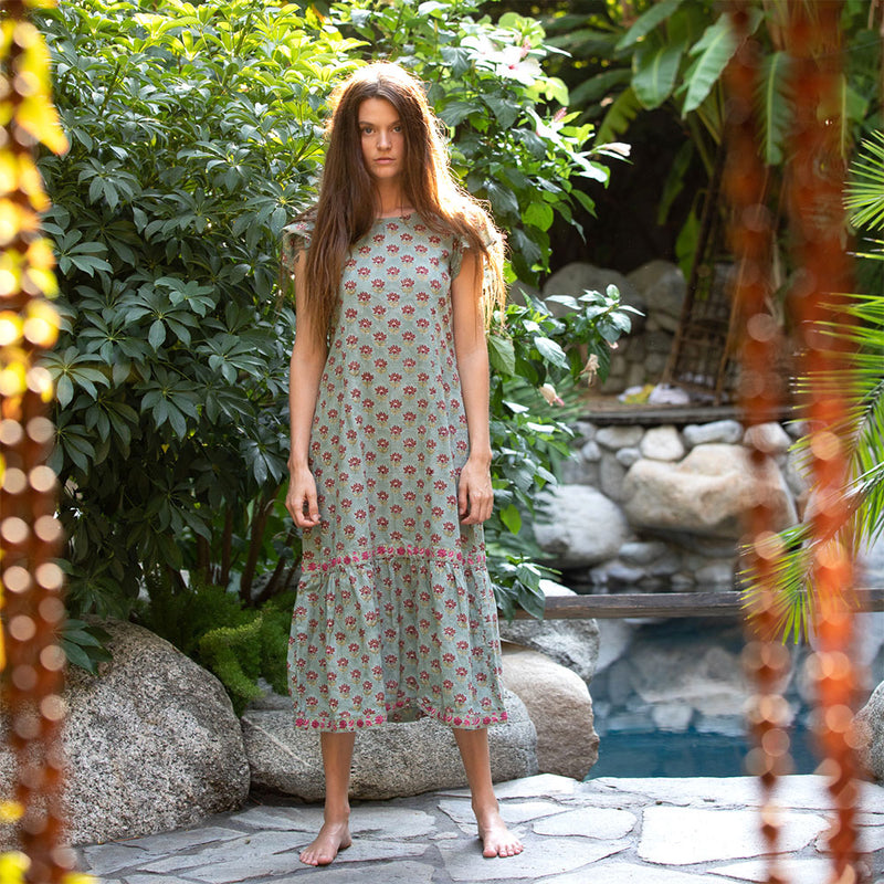 Green Floral Block Printed Column maxi dress - The Fox and the Mermaid