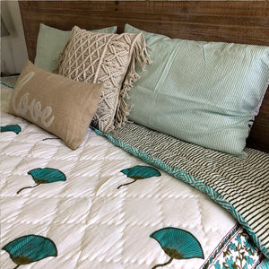 Cozy block printed lotus quilt The Fox and the Mermaid