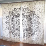 Silver or Gold Lotus Flower Mandala Tapestry Curtains - The Fox and The Mermaid - 2