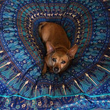 Mandala Tapestry Floor Cushion and Dog Bed: Blue - The Fox and The Mermaid - 3