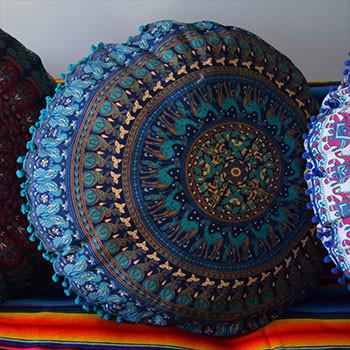 Maharaja Mandala Tapestry Floor Cushion: Blue