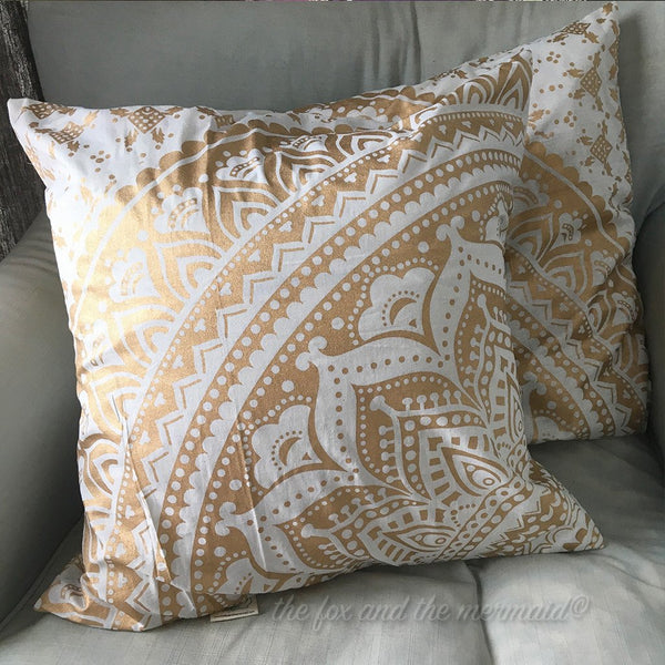 Gold Mandala Throw PIllow  The Fox and the Mermaid