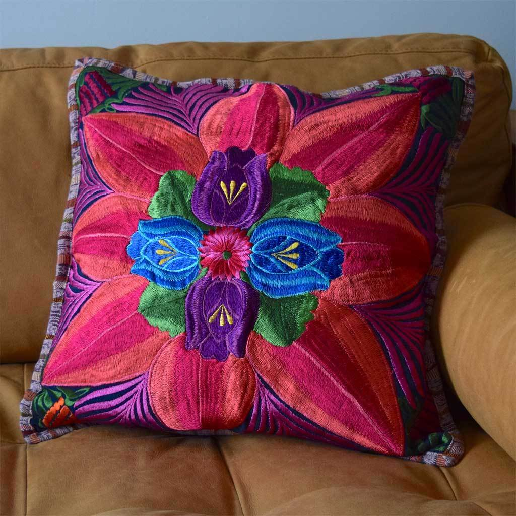 Embroidered Mayan Floor Cushion The Fox and the Mermaid