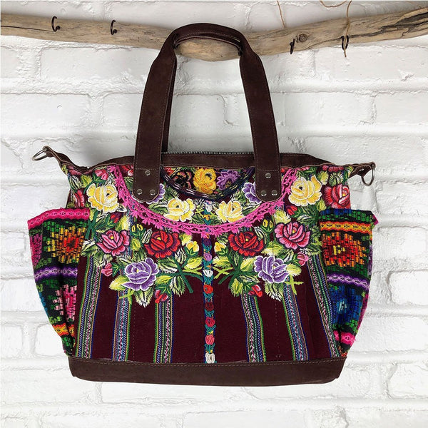 mayan patzun weekender bag Leather Embroidered Strap