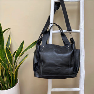 full leather black convertible bag - The Fox and the Mermaid
