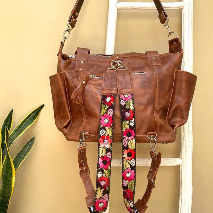 brown full leather convertible bag with red floral straps - The Fox and the Mermaid