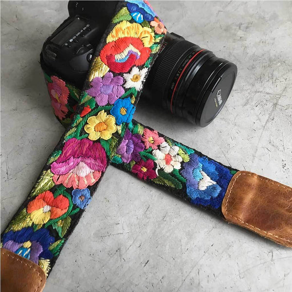 Flower Embroidered Camera Strap from Guatemala The Fox and the Mermaid