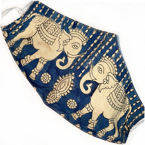 Indigo face mask with painted elephants - The Fox and the Mermaid