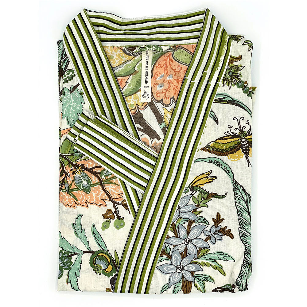 Olive green indian kimono with butterflies - The Fox and the Mermaid
