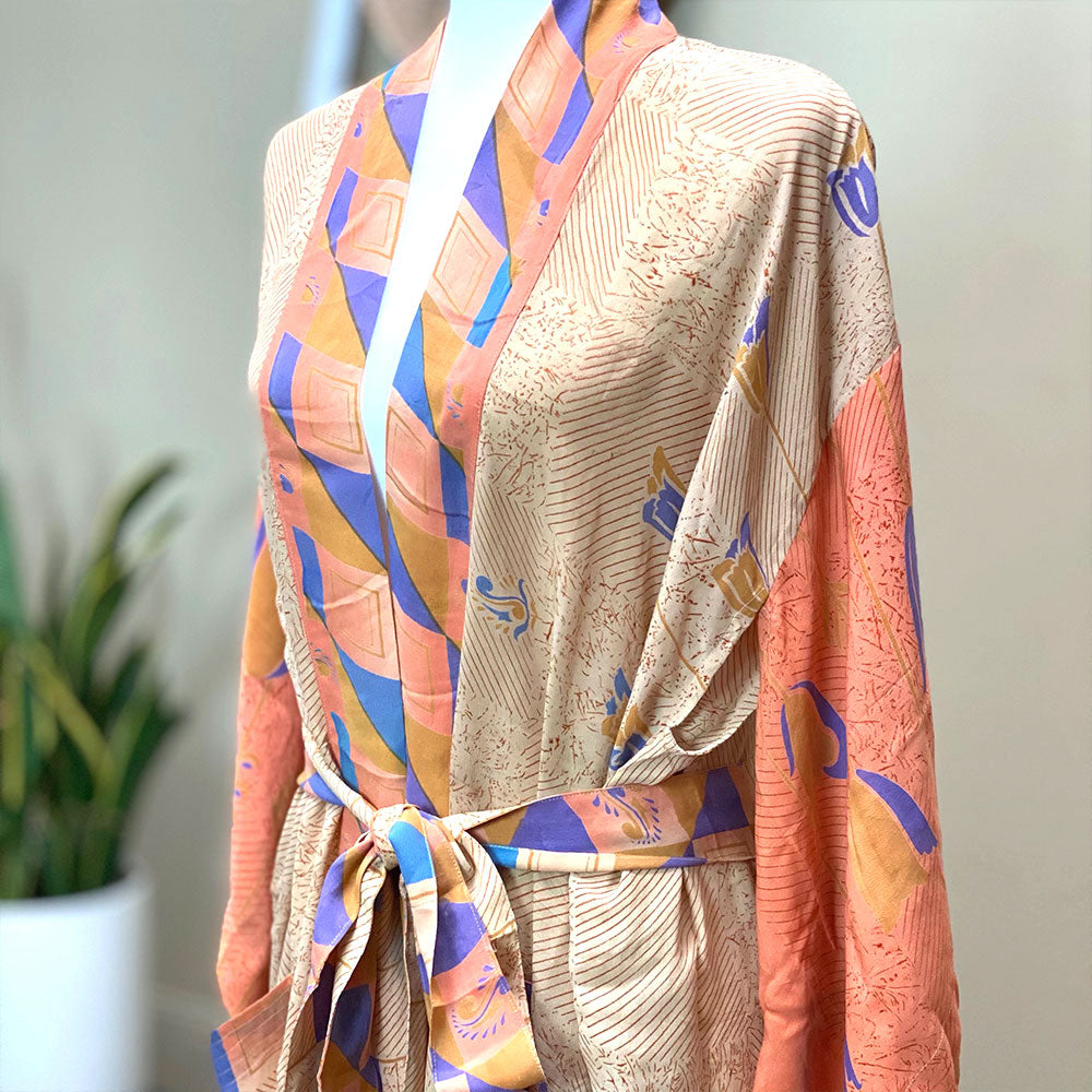 Orange and Blue vintage silk robe made from a saree - The Fox and the Mermaid