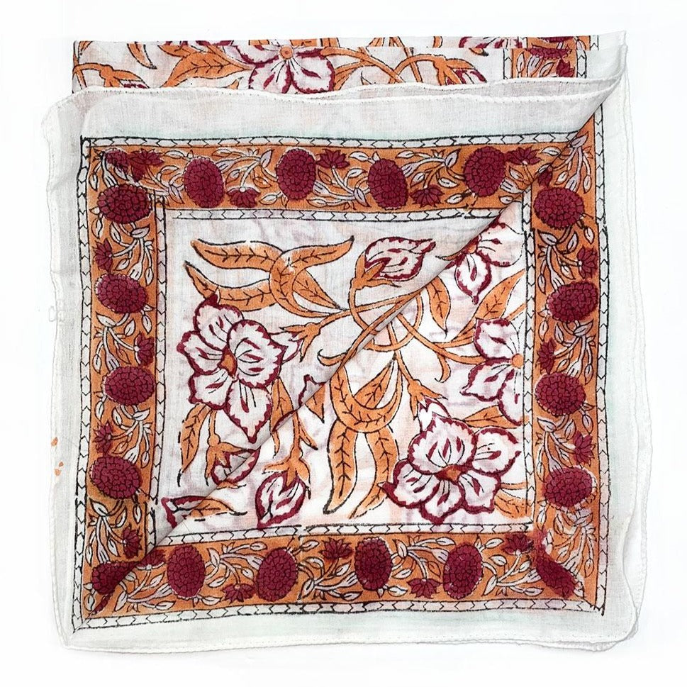 orange and red cotton scarf and bandana - The Fox and the Mermaid