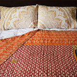 Hand-Stitched Kantha Throw - The Fox and The Mermaid - 4