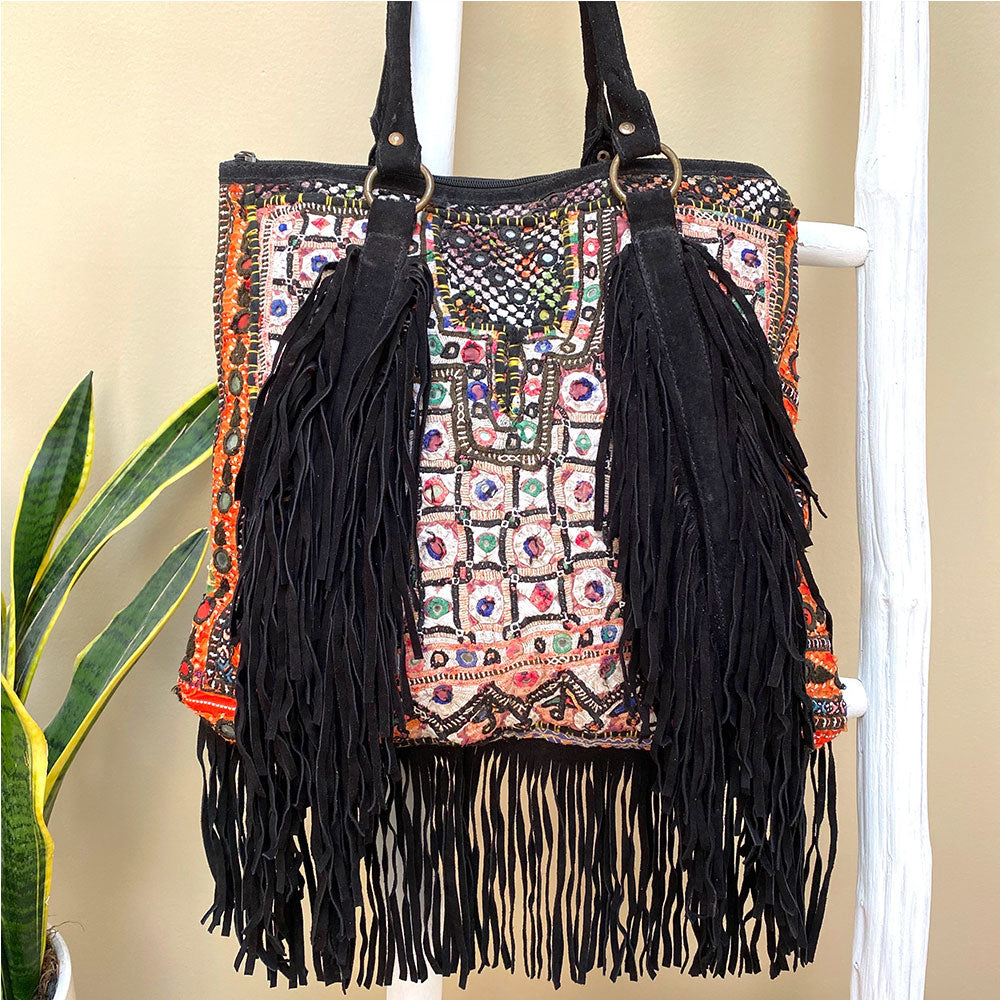 black fringe embroidered banajra Bag - The Fox and the Mermaid