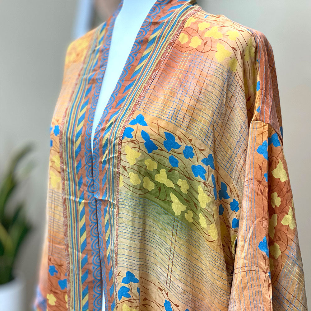 orange blue and yellow vintage crepe silk kimono  - The Fox and the Mermaid