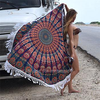 The Gypsy Wanderer Mandala Roundie with Fringe or Pom-Poms