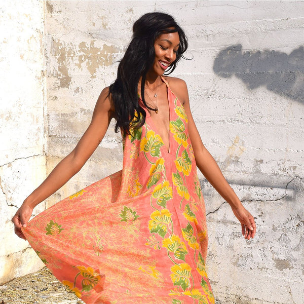 Peach Vintage Silk Indian Dress The Fox and the Mermaid